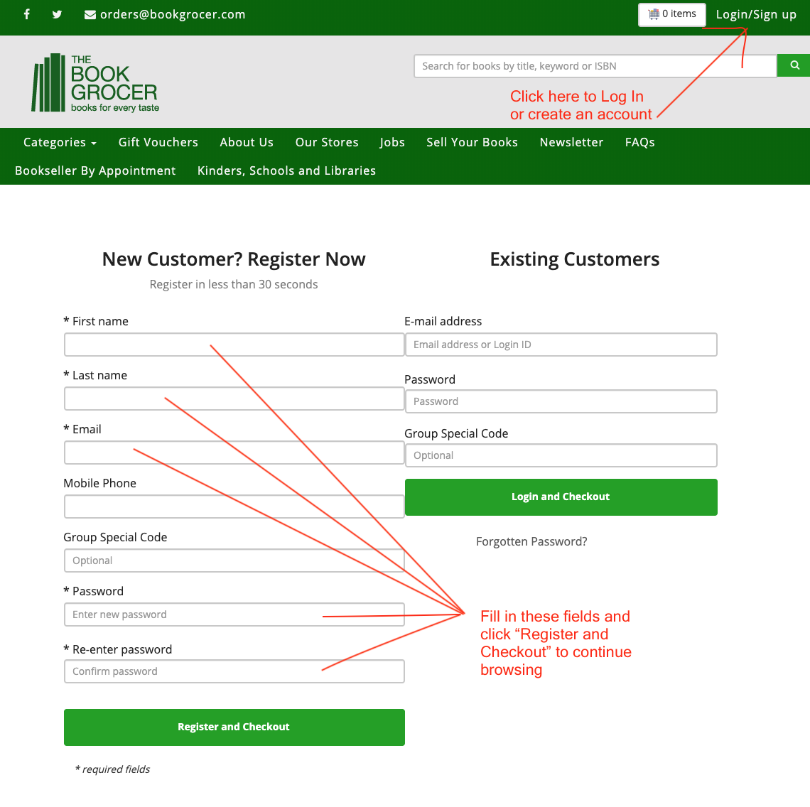 Image showing fields to fill in at registration