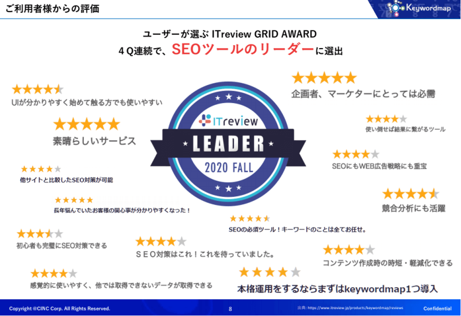 SEOツールのリーダーに選出