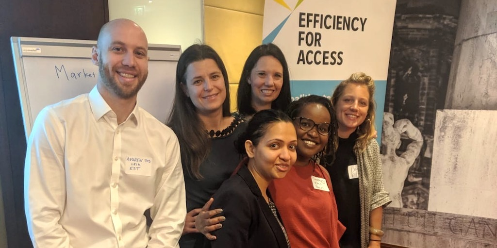 EST and CLASP Efficiency for Access research leads Andrew Tod, Richa Goyal, Emilie Carmichael, Jenny Corry Smith and Makena Ireri, with Corinne Schneider at an update on the 2019 State of the Off-grid Market report