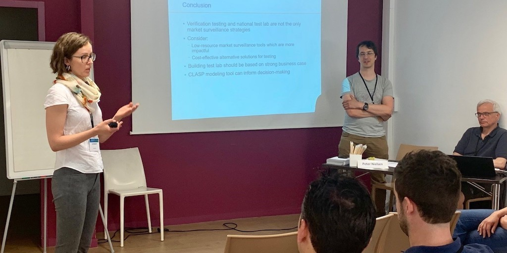 Lina Kelpsaite presenting on the importance of having a strong business case for test labs during eceee's 2019 Summer Study