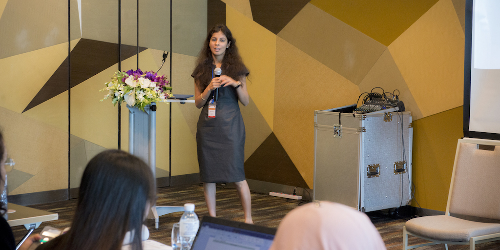 Neha Dhingra in Bangkok presenting on CLASP's cooling compliance work at the ASEAN SHINE Networking and Donor Conference & 23rd Energy Efficiency & Conservation Sub Sector Network Annual Meeting.