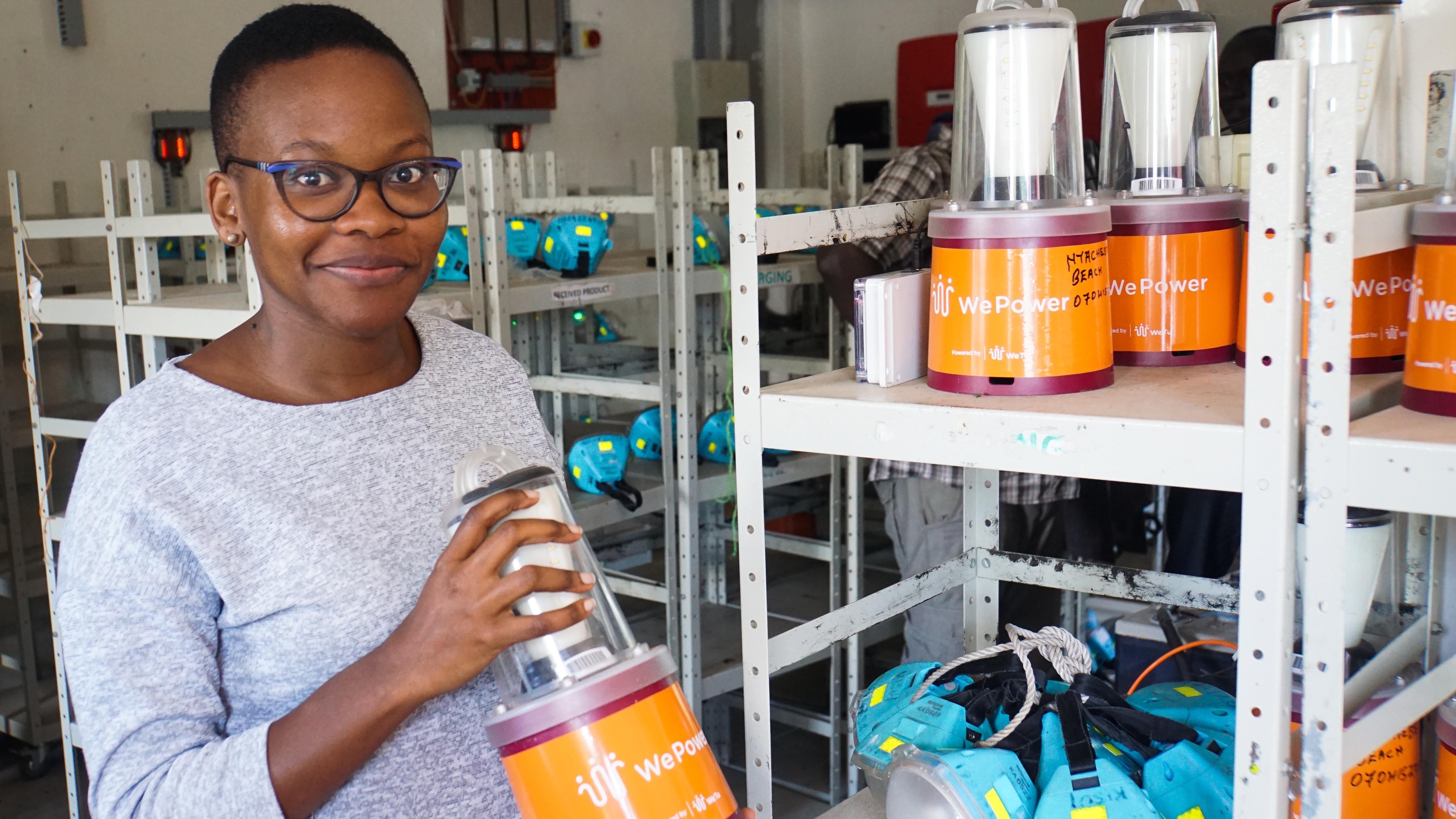 Monica Wambui at a Solar E-Waste Challenge site visit with WeTu in Mbita, Kenya.