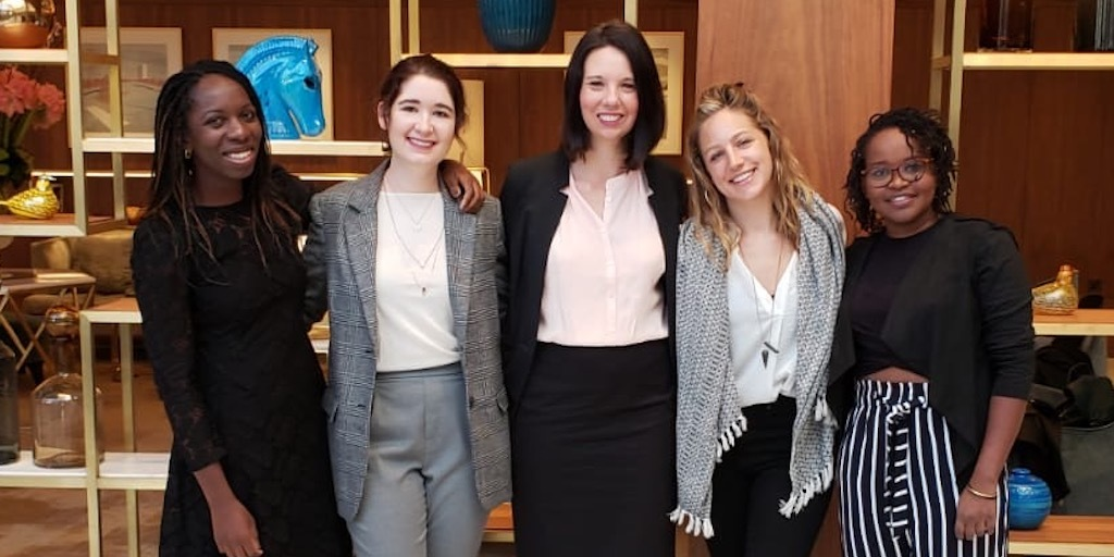 Nya Abagi, Yasemin Erboy Ruff, Jenny Corry Smith, Corinne Schneider and Makena Ireri before the Transforming Energy Access: Innovations towards SDG7 conference in London
