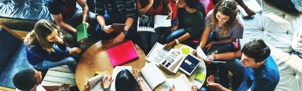 Students discussing in a small group