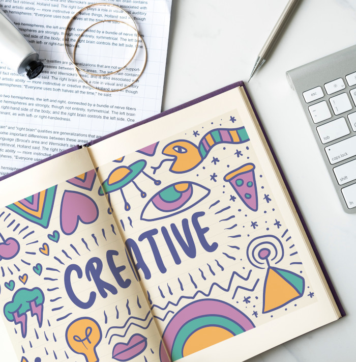 creative drawing in a notebook