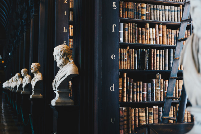 statues in an old library