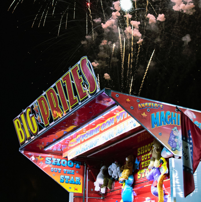 big prizes booth with fireworks