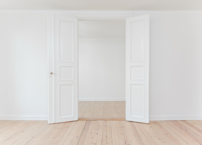 minimalist white door