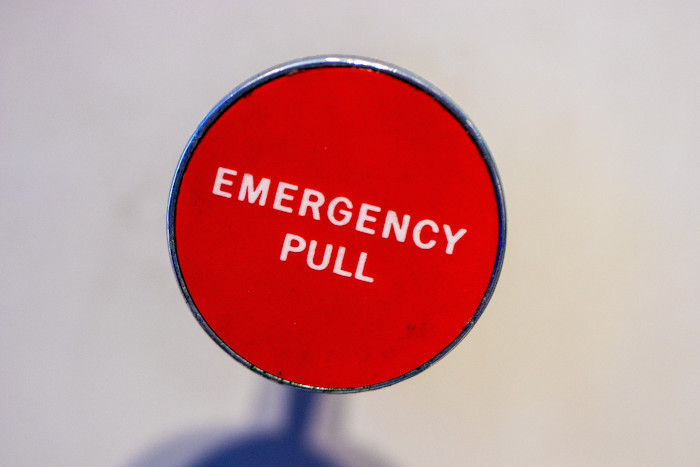 red pull for emergency knob