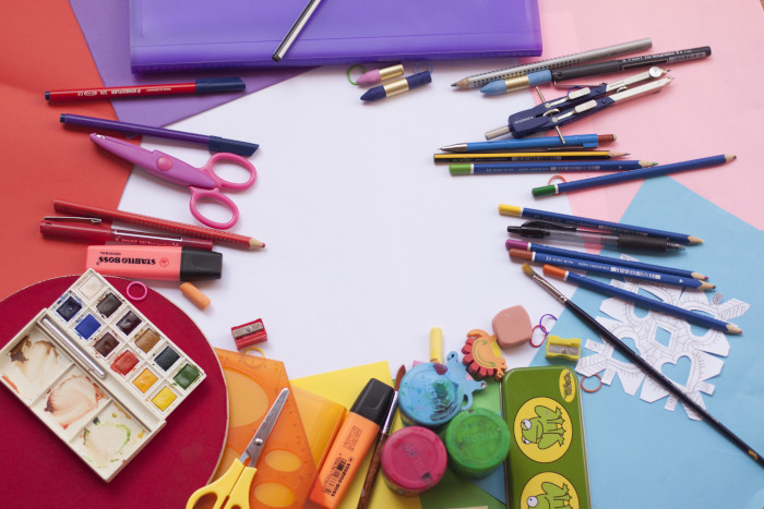 Colourful school and craft supplies