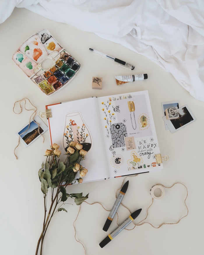 flatlay photography of scrapbook on white surface