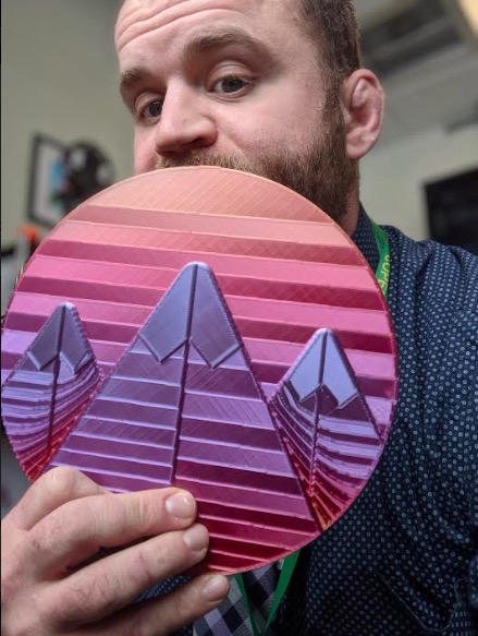 Tony Williams, Instructional Tech Leader for Copenhagen Central School District, shows off the 3D Classcraft logo he printed for his teachers.