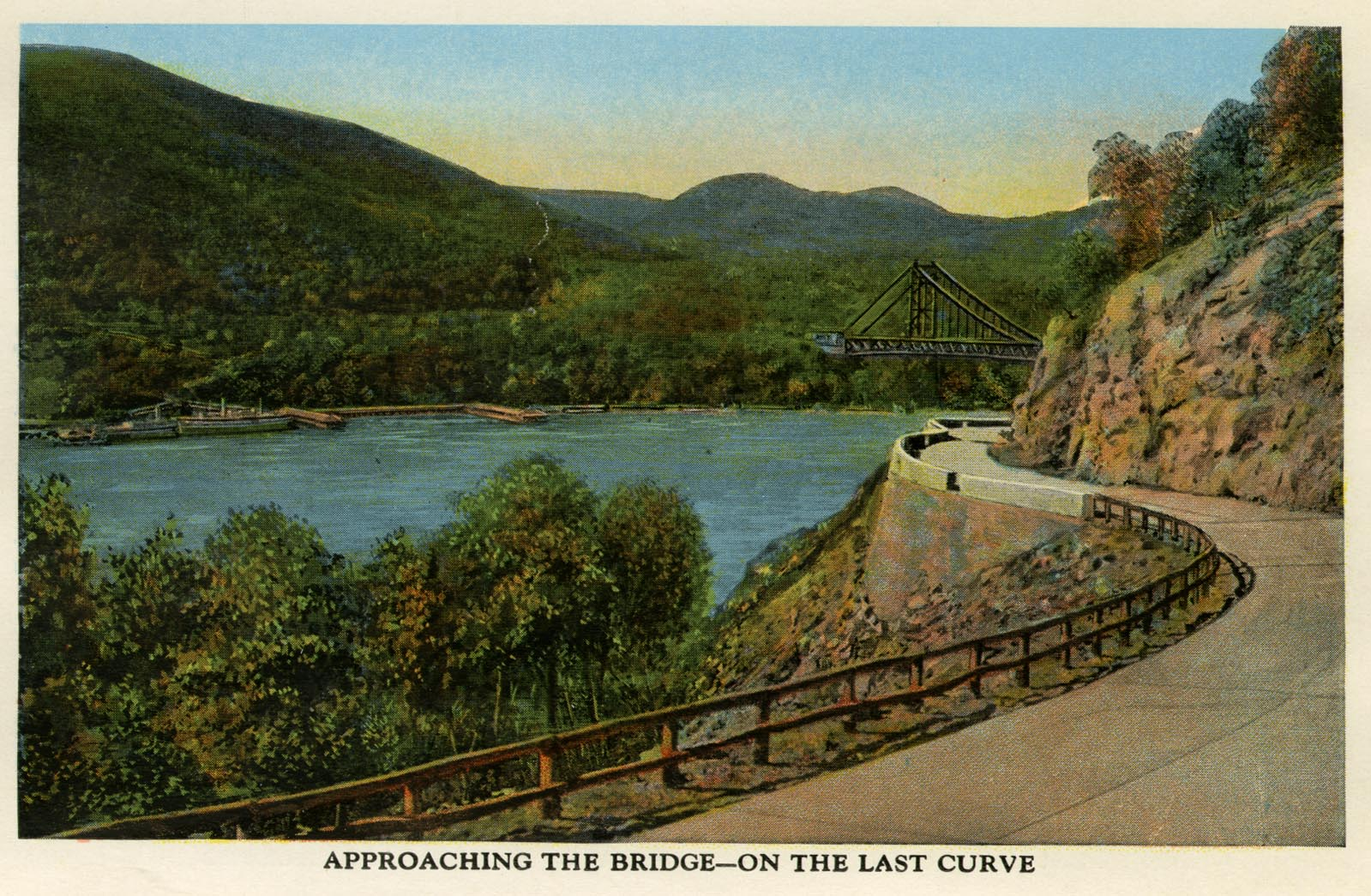 Postcard of Bear Mountain Road, looking north toward Bear Mountain Bridge.