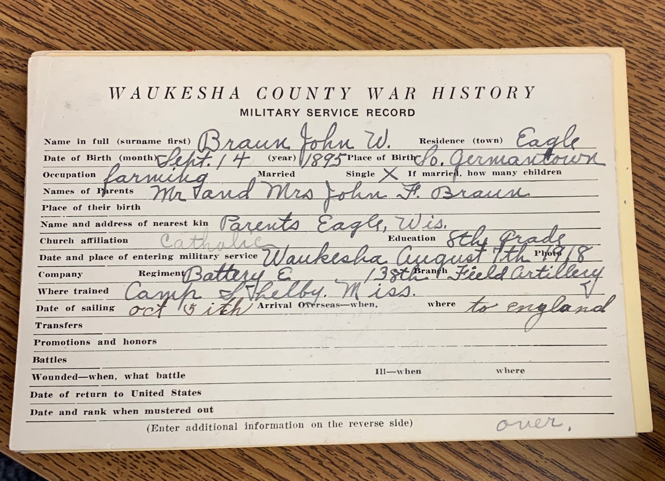 John W. Braun World War 1 Draft Card
