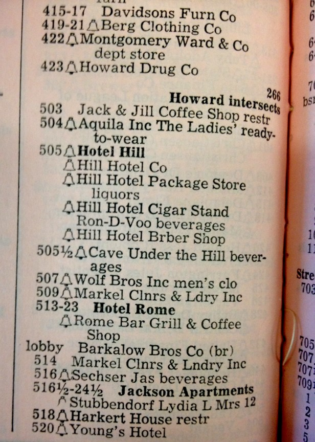 1954 Omaha City Directory Page That Lists the Hill Hotel