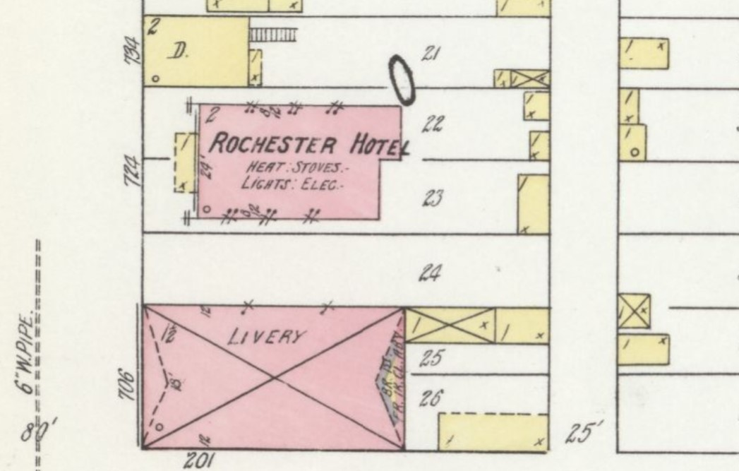 1920 Sanborn Fire Insurance Map with Rochester Hotel (Sanborn Map Company p. 6)