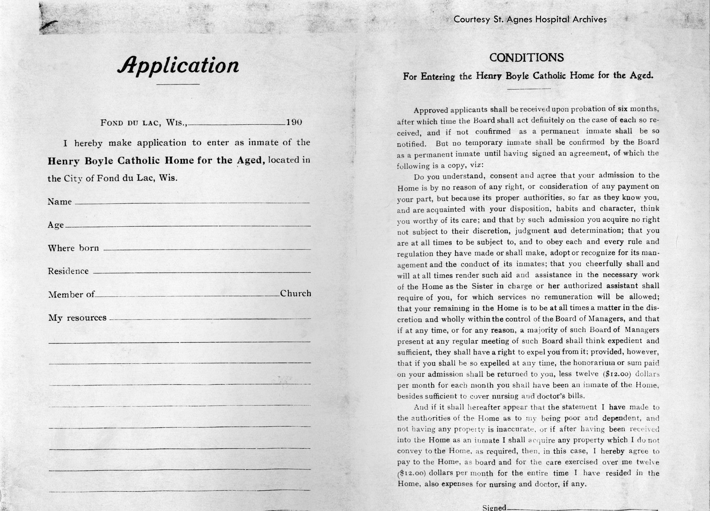 Application for Entering Henry Boyle Catholic Home for the Aged
