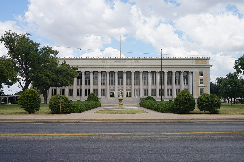 The Tom Green Courthouse was built in 1928 and is a fine example of Classical Revival architecture.