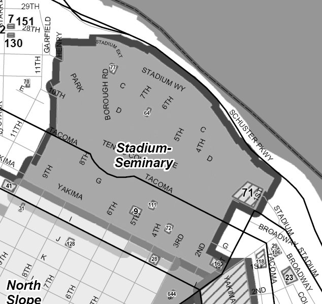 Boundaries of the Stadium-Seminary Historic District