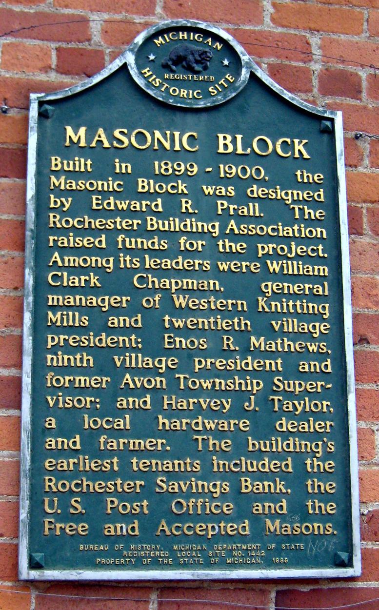 Masonic Block, Michigan Historical Marker, 2020