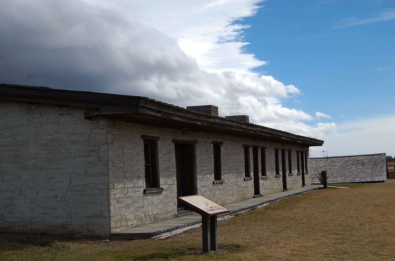 The reconstructed barracks is the only building remaining from the fort.