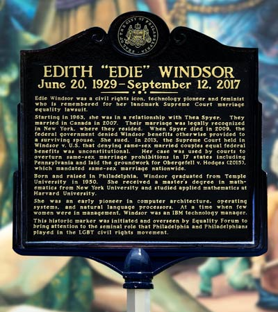 Edith Windsor's Historic Marker in Philadelphia on 13th and Locust Street