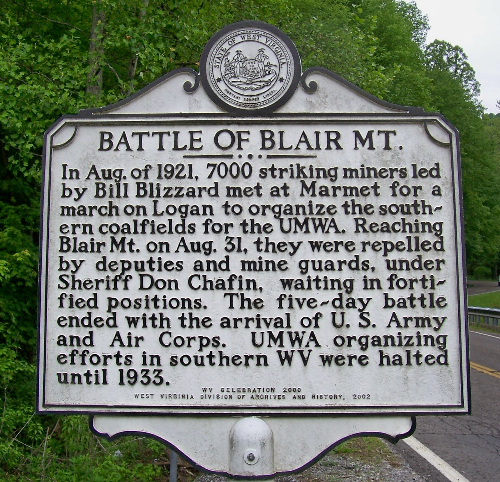 This historical marker on Blair Mountain Highway was dedicated in 2002.