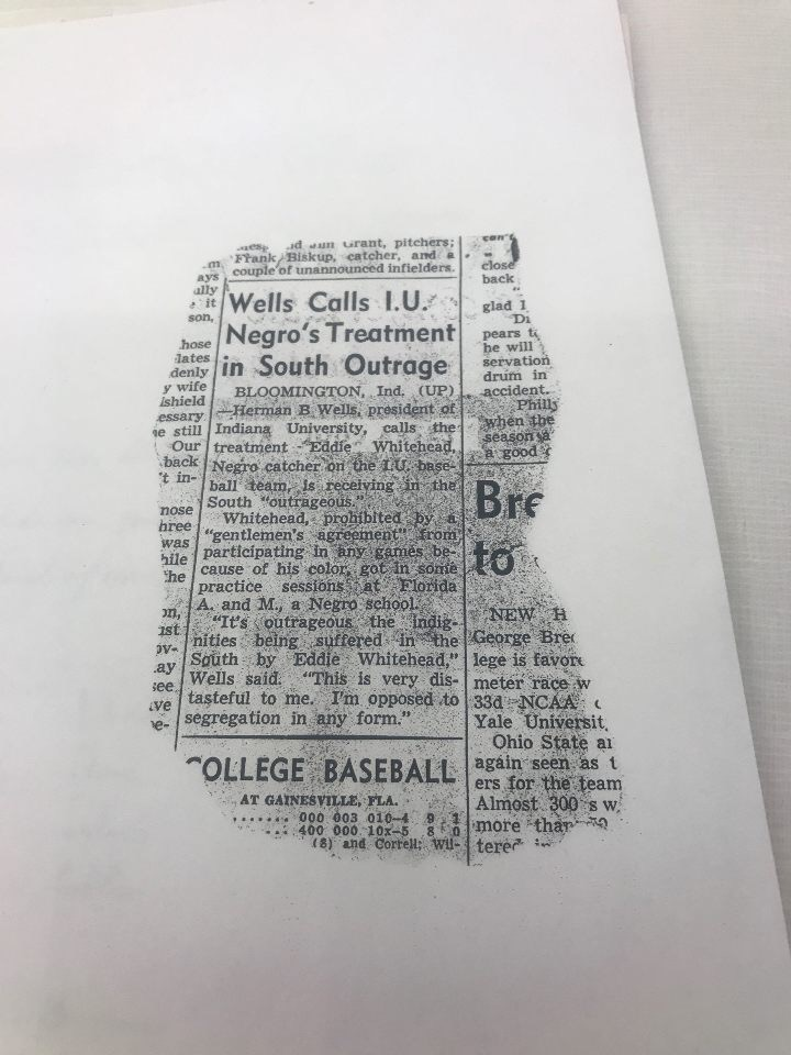 Indianapolis Times Newspaper clip reporting Wells's response to the treatment of Whitehead