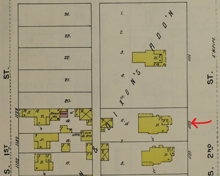 H.P. Boult House (red arrow) on 1896 Sanborn map (yellow = wood) of Springfield (p. 34)