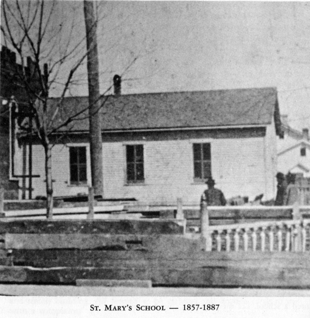 Original one-room St. Mary's School, 1857-1887.