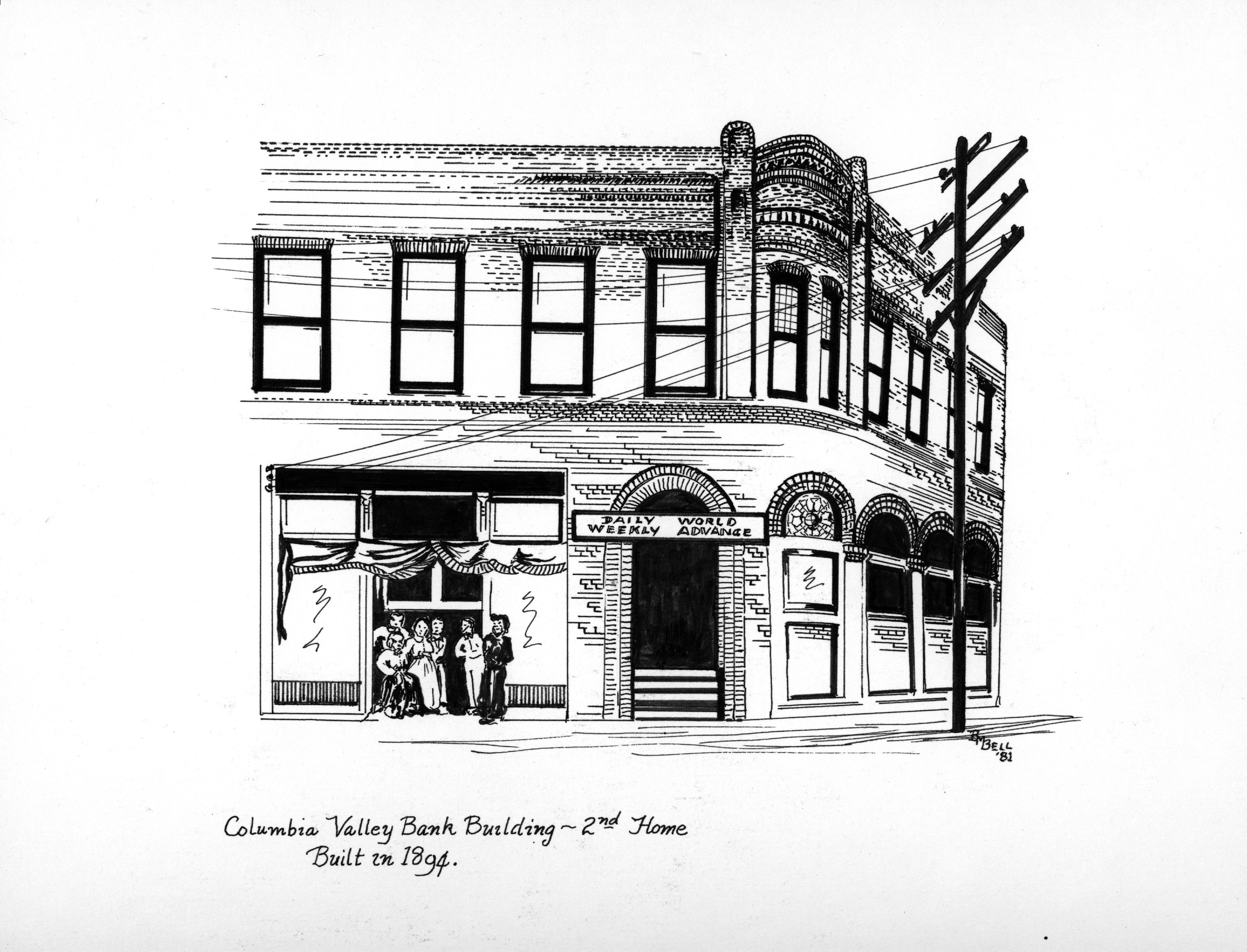 An illustration by artist Betty Bell of the second home of Columbia Valley Bank.