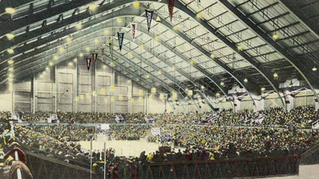 Postcard showing the interior of Lambert Fieldhouse during a Purdue basketball game.