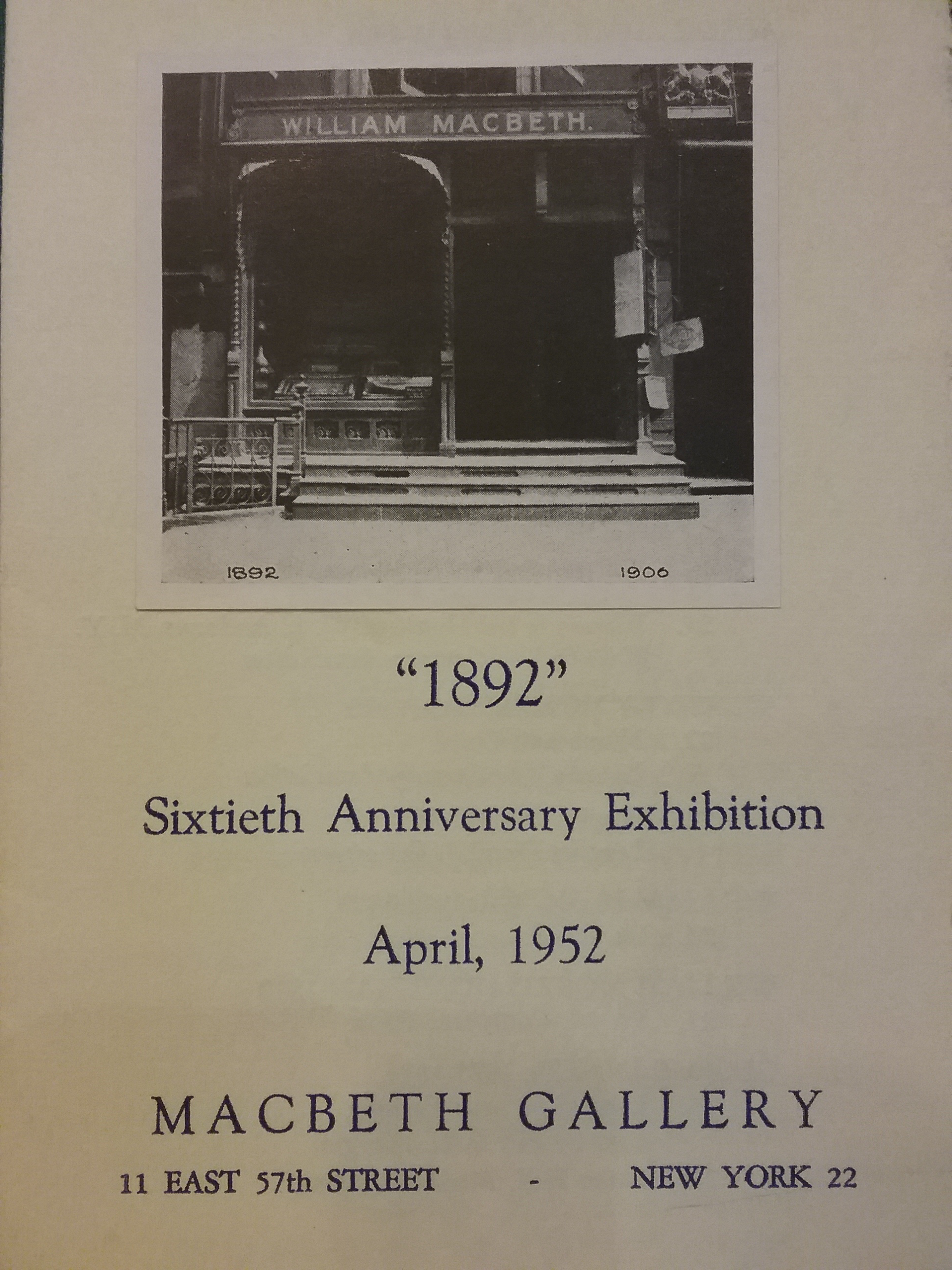 MacBeth Gallery Catalog, 1952