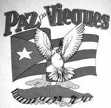 "This image shows the design of the shirts used during the manifestations of the ""Peace for Vieques"" movement."