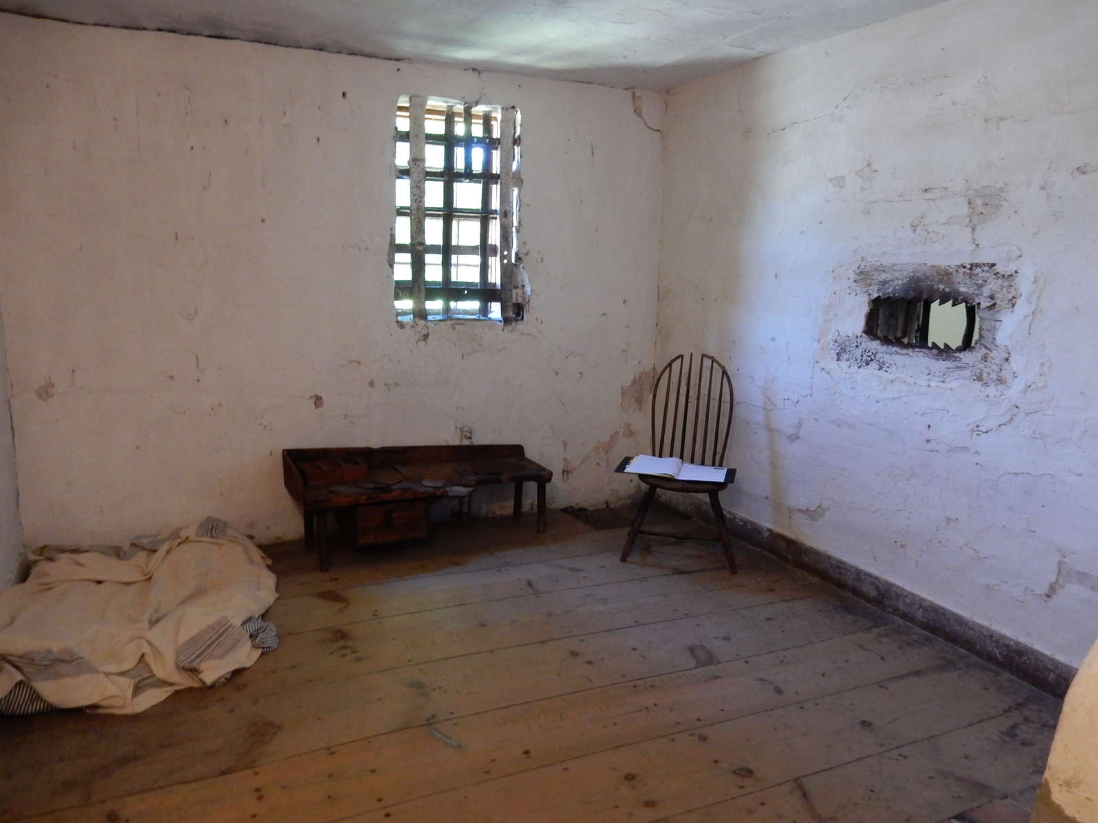 A cell within the Old Gaol looks about as one would expect.