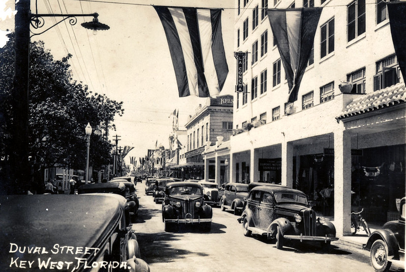 The 400 block of Duval Street in front of La Concha Hotel about 1940.
