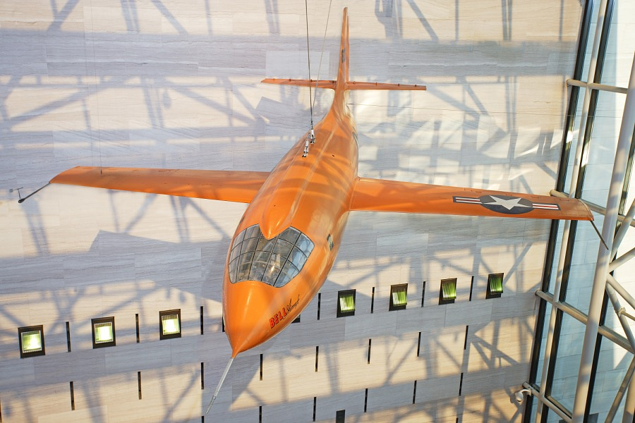 A mockup of the Bell X-1 rocket test aircraft that Charles Yeager flew