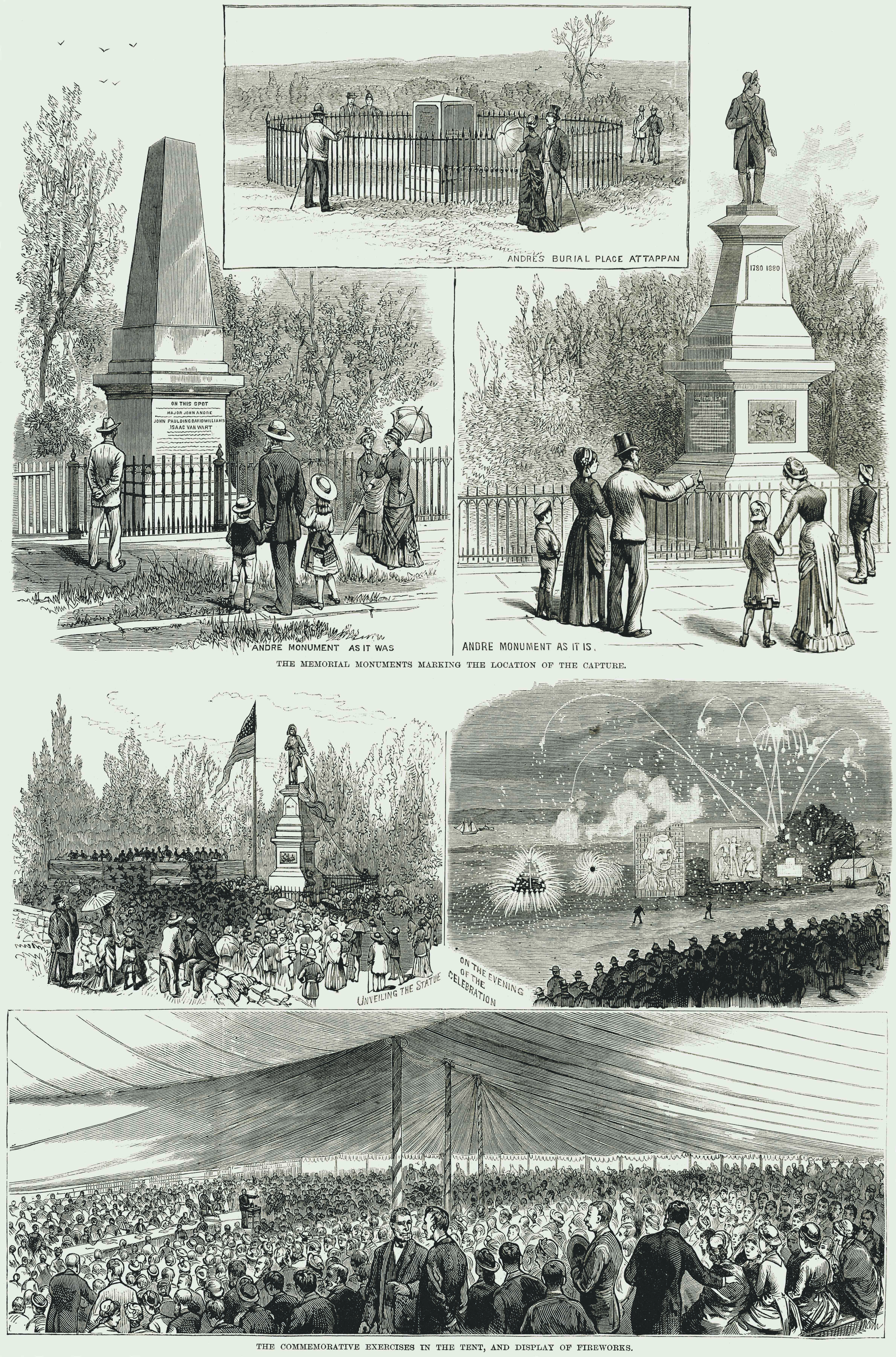 Images of the monument commemorating the capture of Major John Andre.