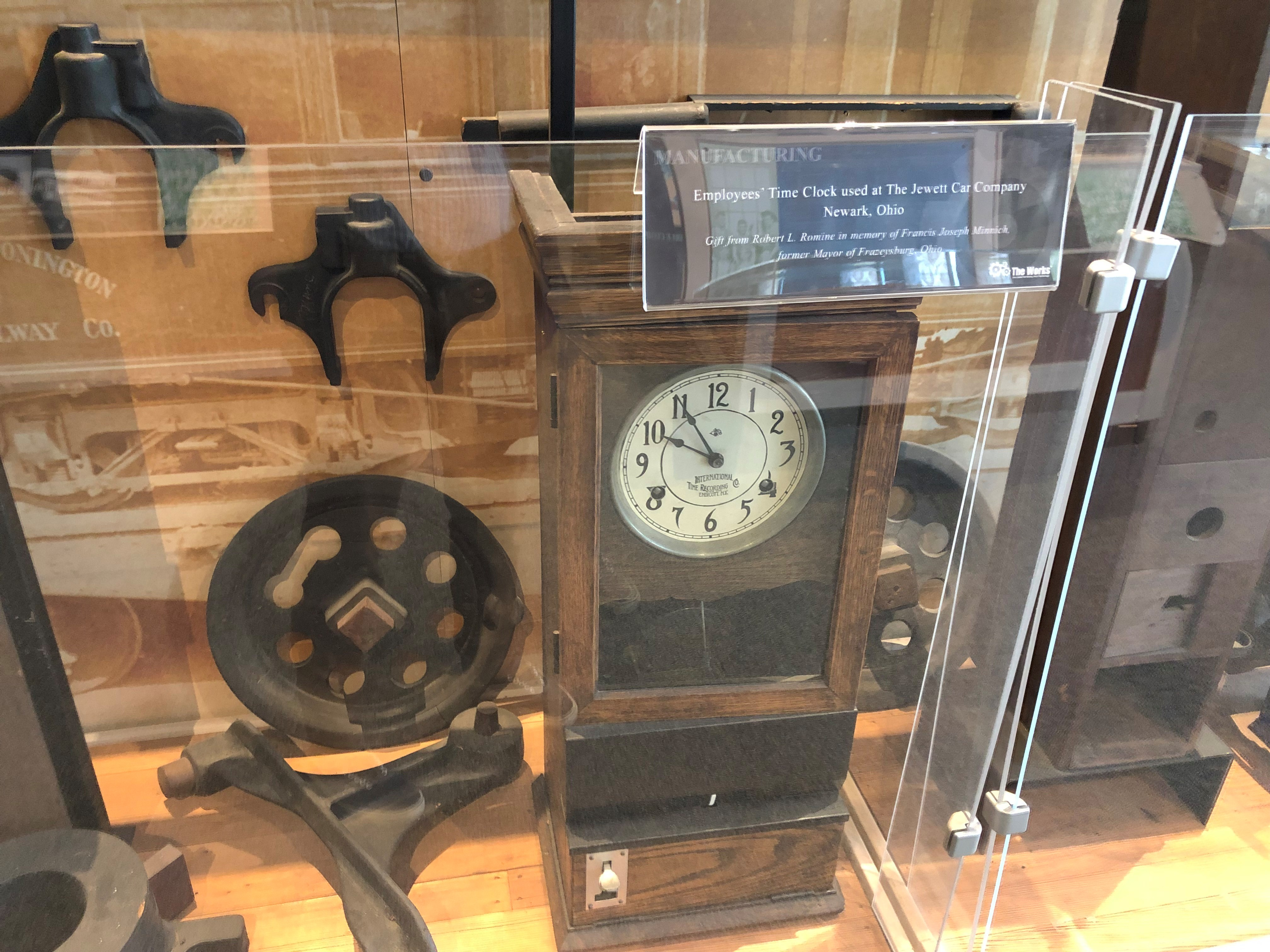 Workers at the Jewett Car Company used this time clock to punch in and out for their shifts.
