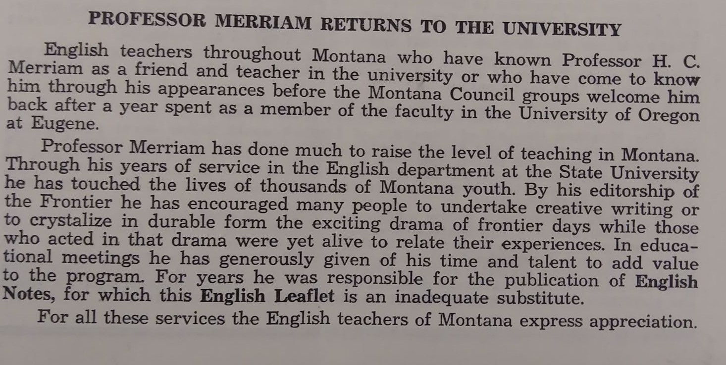 Flyer mentioning Merriam returning to UM after teaching in Oregon