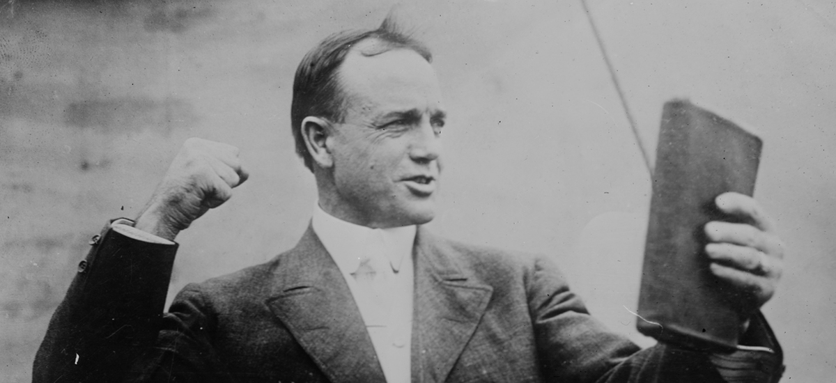 Billy Sunday delivering one of his passionate, energetic sermons in Boston in 1916.
