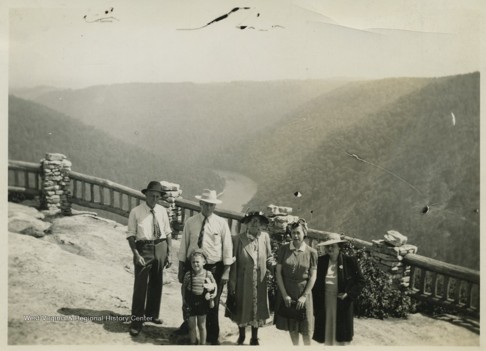 Family standing on the newly completed overlook, 1941