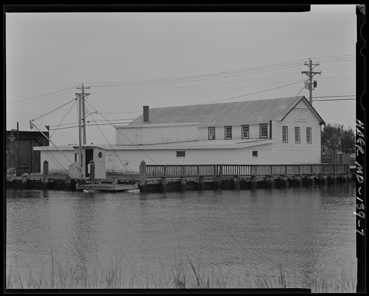 A view of the oyster house from the Back Creek where freshly harvested oysters, crab and fish arrived.