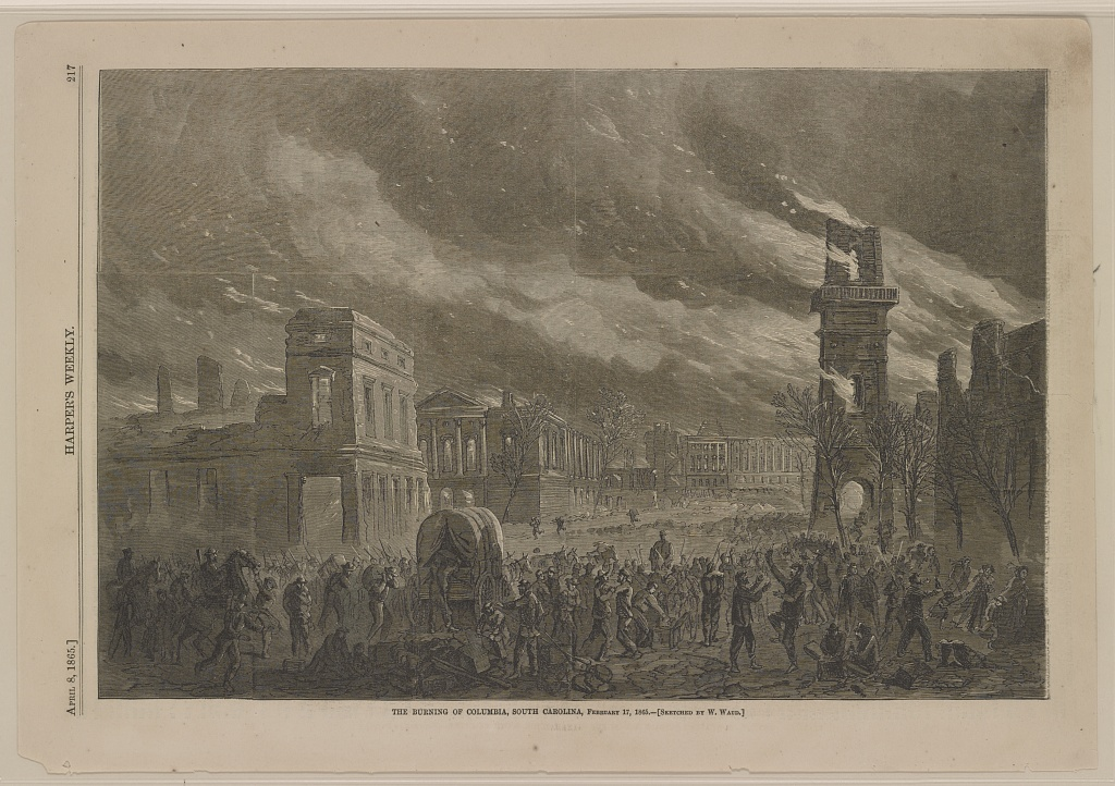 Sketch of burning of Columbia on February 17, 1865 (Wm. Waud in Harpers Weekly 4-8-1865)