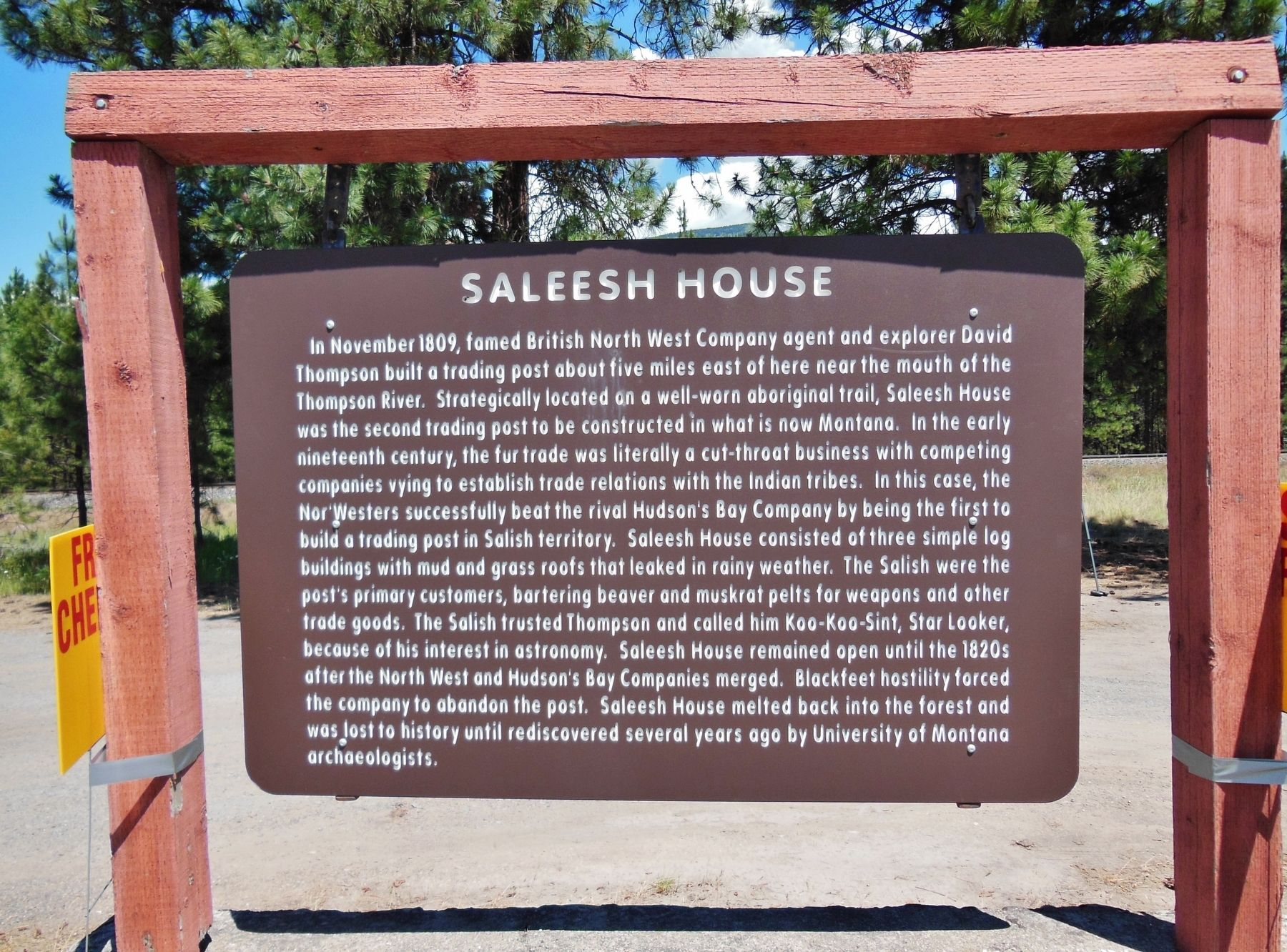 The historical marker describes the Saleesh Trading post, which Thompson established in 1809.