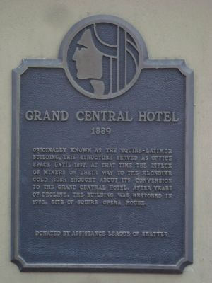Photograph of the historical marker on the Grand Central Hotel.