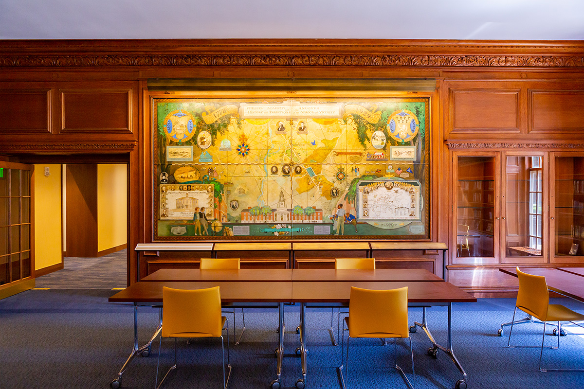Oliver Wendell Holmes Library, Freeman Room mural by Stuart Travis, 2019