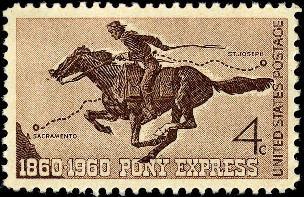Pony Express Centennial Stamp (4 cents), issued in 1960