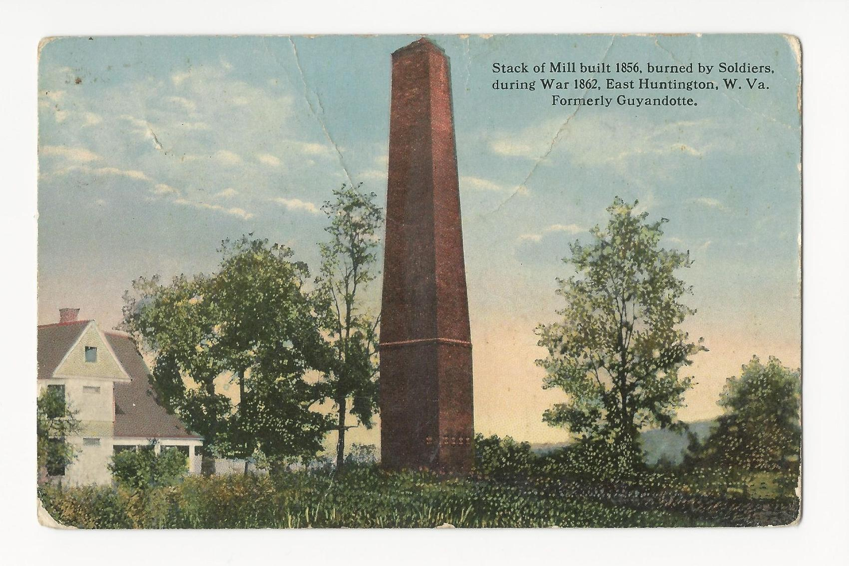 Postcard depicting the Buffington Mill's smokestack