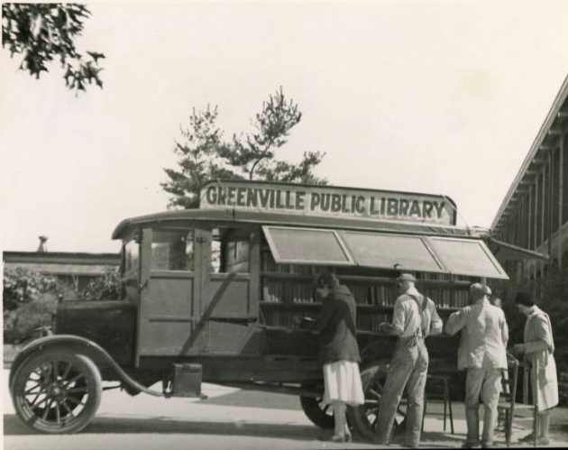 Greenville Public Library Bookmobile-Out of the eight bookmobiles employed by the library at the time of the sit-in, seven served whites only